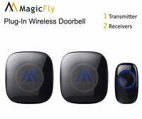 Wireless Doorbell Kit Portable Long Range Alarm Chimes Plug Battery 52 Tones