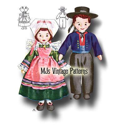 Vintage 1940s Russian /& Dutch Boy /& Girl International Cloth Dolls Pattern