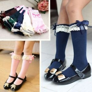 Toddler-Kids-Baby-Girl-Knee-High-Length-Cotton-Socks-Bow-Lace-Frill-1-5-Years