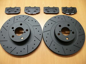 Leon-Cupra-R-1-8T-MTEC-Dimpled-Grooved-Black-Brake-Discs-Front-Brembo-Pads-323mm