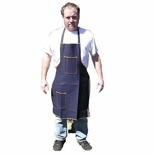 Hawk Ad018 Blue Denim Shop Apron 2 Pocket 25 X 34 Woodworking