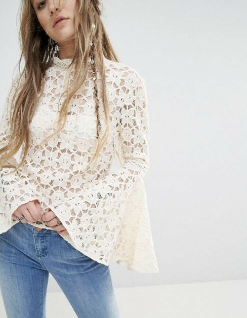 NEW Free People ivory Open Lace Bell Sleeve Mock Turtle Open Back Top S