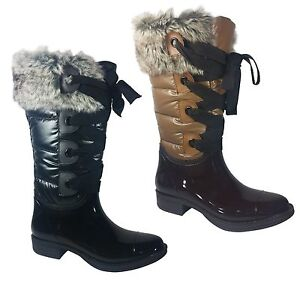 New Womens Knee High Nylon Snow Rain Boots Fur Lace Up Black Brown Size 6 - 11