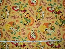 Rare Licensed Disney Lion King Simba Nala 100% Cotton Quilting Fabric