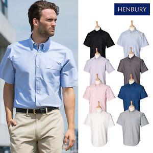 HENBURY-Manga-Corta-Camisa-Clasica-Oxford-H515-Unisex-Liso-Formal-desgaste-de-la-oficina