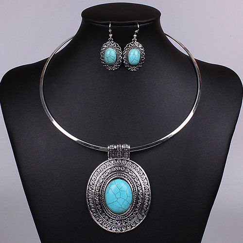 Magic Women Oval Turquoise Pendant Earrings + Necklace Jewelry Set