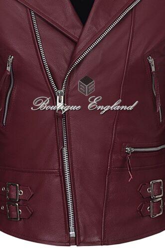 233 Men/'s Biker Jacket Cherry RECKLESS Quilt CLASSIC BIKER STYLE HIDE LEATHER