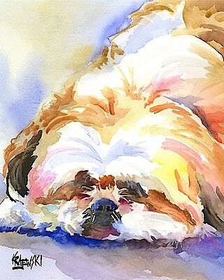 Shih Tzu Dog 8x10 signed art PRINT RJK painting