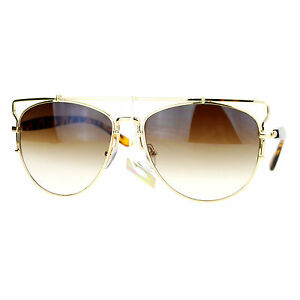 62658455fe7 Womens Designer Aviator Sunglasses Flat Top Bar Metal Frame Aviators ...