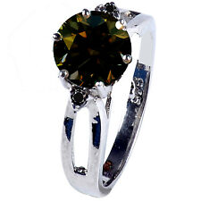 1.68.ct Si1/BROWN REAL ROUND MOISSANITE & NATURAL BLACK DIAMOND.925 SILVER RING
