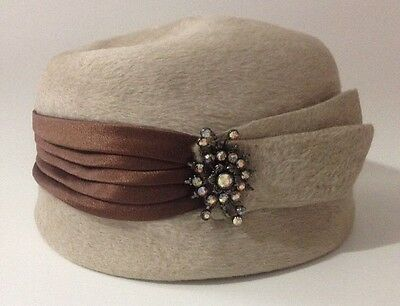Vintage 1930s Mr Frank Original Pillbox Hat Beige Rhinestone Brooch Without Box
