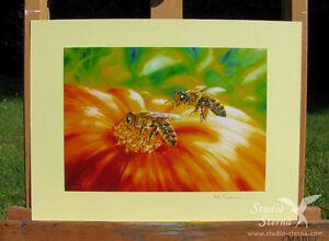 Kunst-Foto-Druck-2-Tiere-Bienen-Blume-Foto-Kunst-Gemaelde-Druck-Natur-Bluete