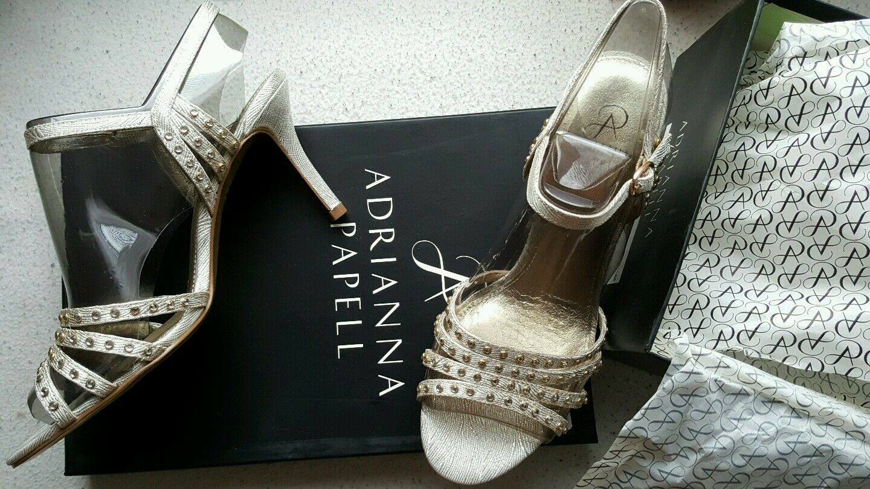 New Vonia Authentic ADRIANNA PAPELL Metallic Vonia New Sandals Heels Uk4.5 Shoes 3e03da