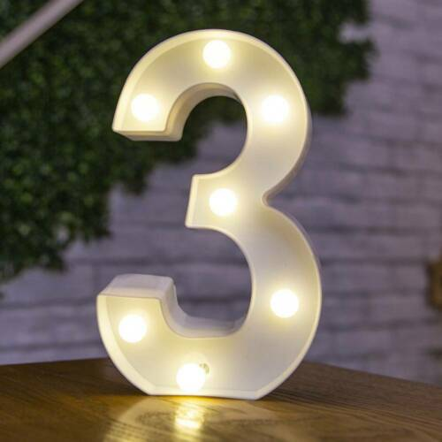ALPHABET LETTER LED LIGHT UP NUMBERS WHITE PLASTIC LETTERS STANDING Decoration