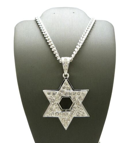 """New Iced Out 6-POINT STAR Pendant /&36/"""" Silver Plated Cuban Chain Necklace OP121"""