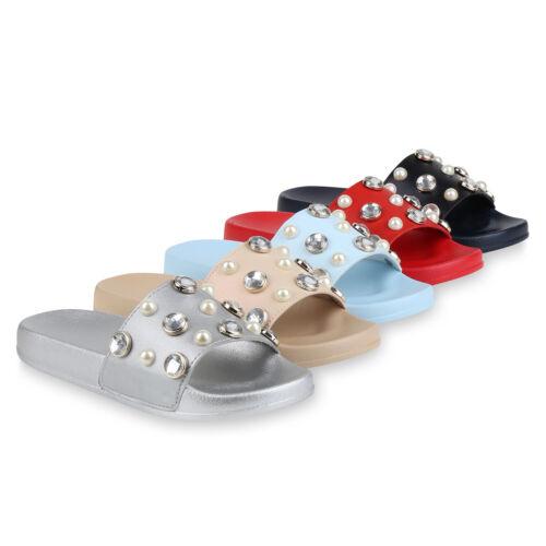 Damen Sandalen Zierperlen Pantoletten Hausschuhe Sommer 823362 Schuhe