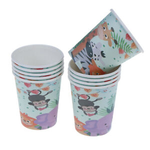 10pcs-Safari-theme-paper-cups-disposable-cups-kids-birthday-party-suppl-TJ