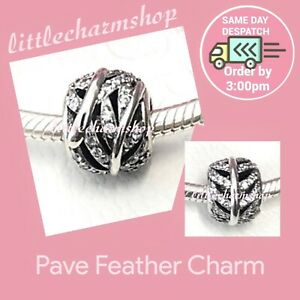 New-Authentic-Genuine-PANDORA-Silver-Pave-Feather-Charm-791186CZ-RETIRED
