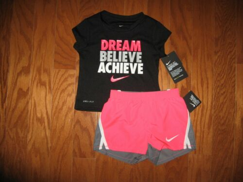 Nike 2 Pc Outfit Set Tee Shirt /& Dri Fit Shorts Girls 12M//18M//24M//2T//3T//4T NWT