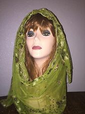 Green Long Scarf Hijab Wrap Sheer pretty and fashionable w/multi color sequins