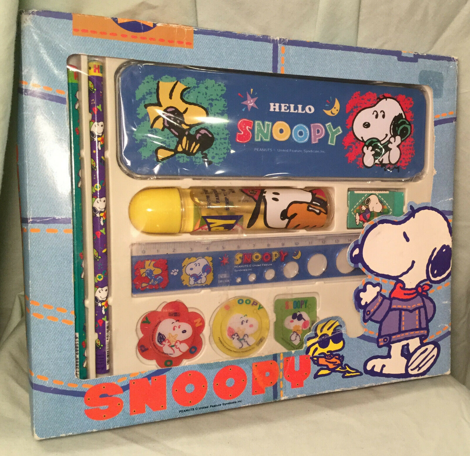 PEANUTS SNOOPY Eraser Roller Case Red Purple With scent Cute Rare