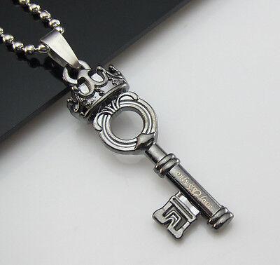 Free Unisex's Bead chain Black Titanium Steel Crown Key Pendant Necklace Gift