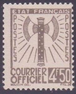 FRANCE-STAMP-TIMBRE-SERVICE-N-11-034-FRANCISQUE-4F50-OLIVE-034-NEUF-xx-TTB