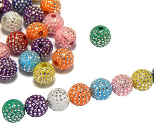 200 Glitzer Straß Effekt Acryl Perlen 5mm Rund Bunt Kunststoff Schmuck BEST R231