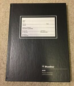 """Blueline A90 Physics Notebook 200 Pages Black Hard Cover 8"""" x 10.5"""" NEW"""