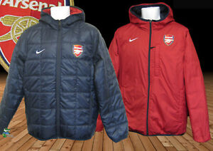 New-NIKE-Mens-ARSENAL-Football-Reversible-BENCH-COAT-Navy-Blue-and-Red-M