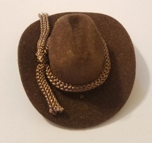 "Lot of 12 Miniature Doll 2/"" Brown Felt Cowboy Western Hat with Rope Band Crafts"