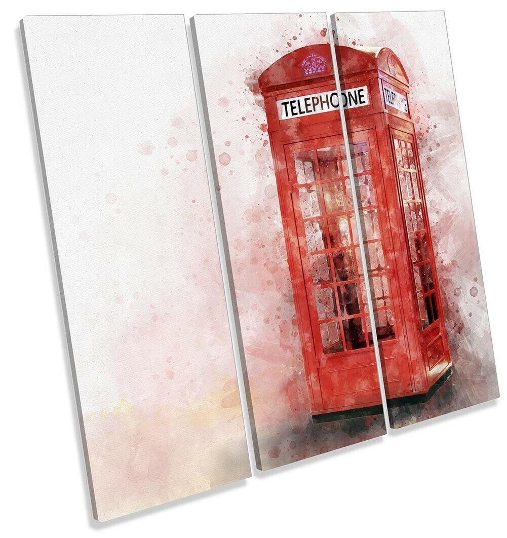 Telephone Box Iconic London Bild TREBLE CANVAS Wand Kunst Square Drucken rot