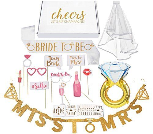 Bachelorette Party Decorations Kit Bridal Shower Supplies with Cheers Gift Box