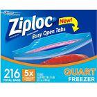 Ziploc Double Zipper Smart Zip 216 ct Heavy Duty Freezer Quart Food Storage Bags