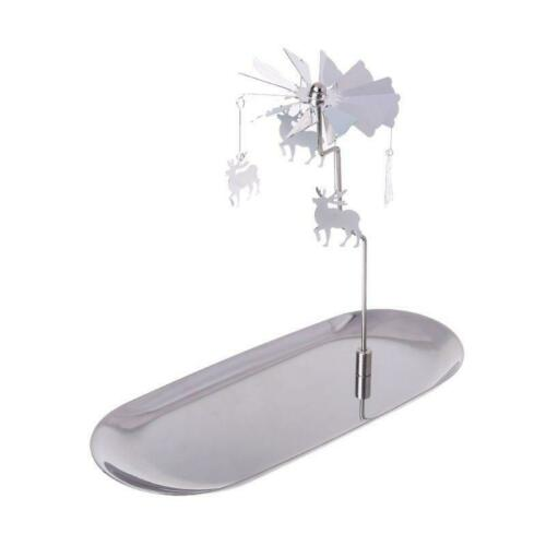 Christmas Magnetic Metal Rotary Spinning Carousel Tealight Candle Holder Stand