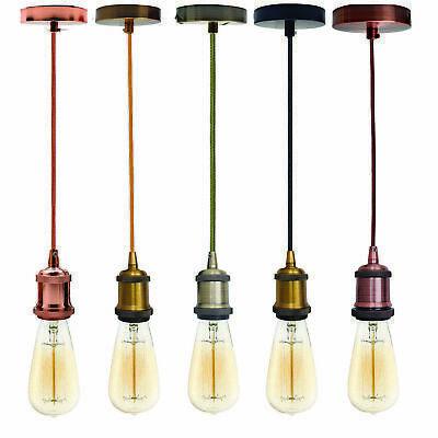 Lumière Pendentif Montage Plafond Rose E27 laiton Suspension Set câble de tissu UK
