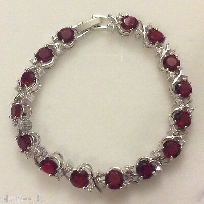 """18ct white GF GB Red Ruby Silver Bracelet Sw Elements BOXED 7/""""//18cm x 8mm"""