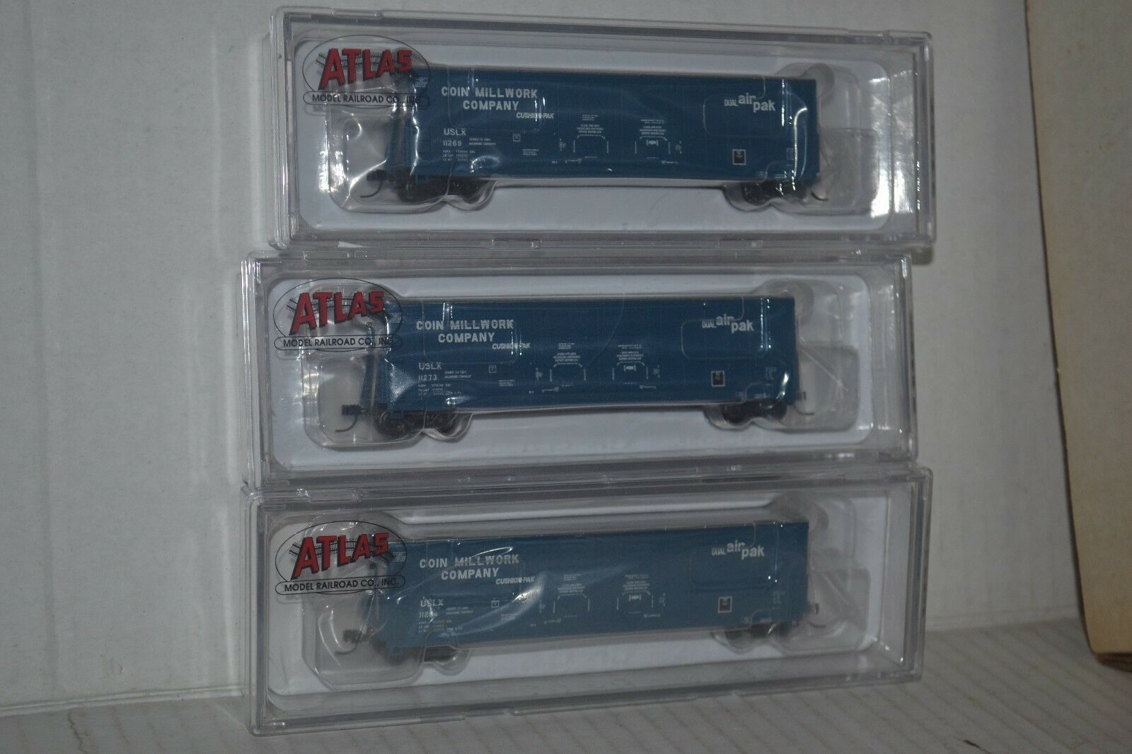 3 Atlas Coin Millwork USLX 53' Evans DPD  Box Car N scale
