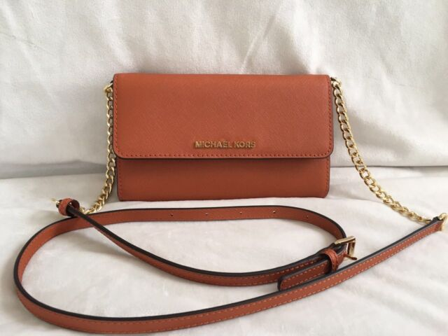 cc975d0eb8c7 Michael Kors Jet Set Travel Large Phone Cross-Body Bag Color- Orange ( Clearance