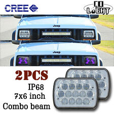 """7""""x6"""" LED Headlights Sealed Beam  Crystal Clear Blue  DRL  For Jeep Cherokee XJ"""