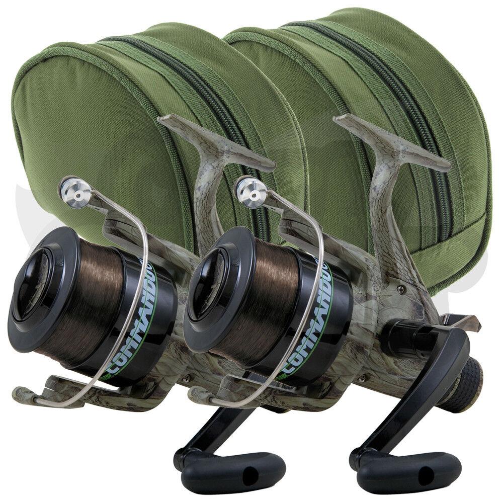 2 X LINEAEFFE Commando 40 1BB Camo spulenfreilauf Karpfen Muster Fischen Rollen