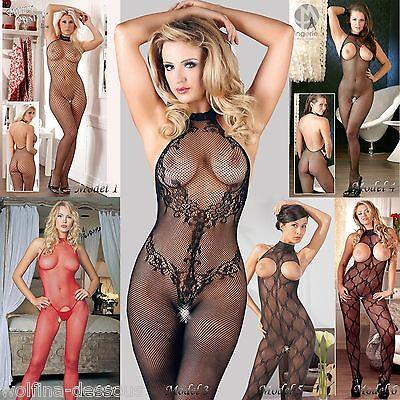 Sexy Ouvert Catsuit Netz Bodysuit Bodystocking Dessous Reizwäsche schwarz rot