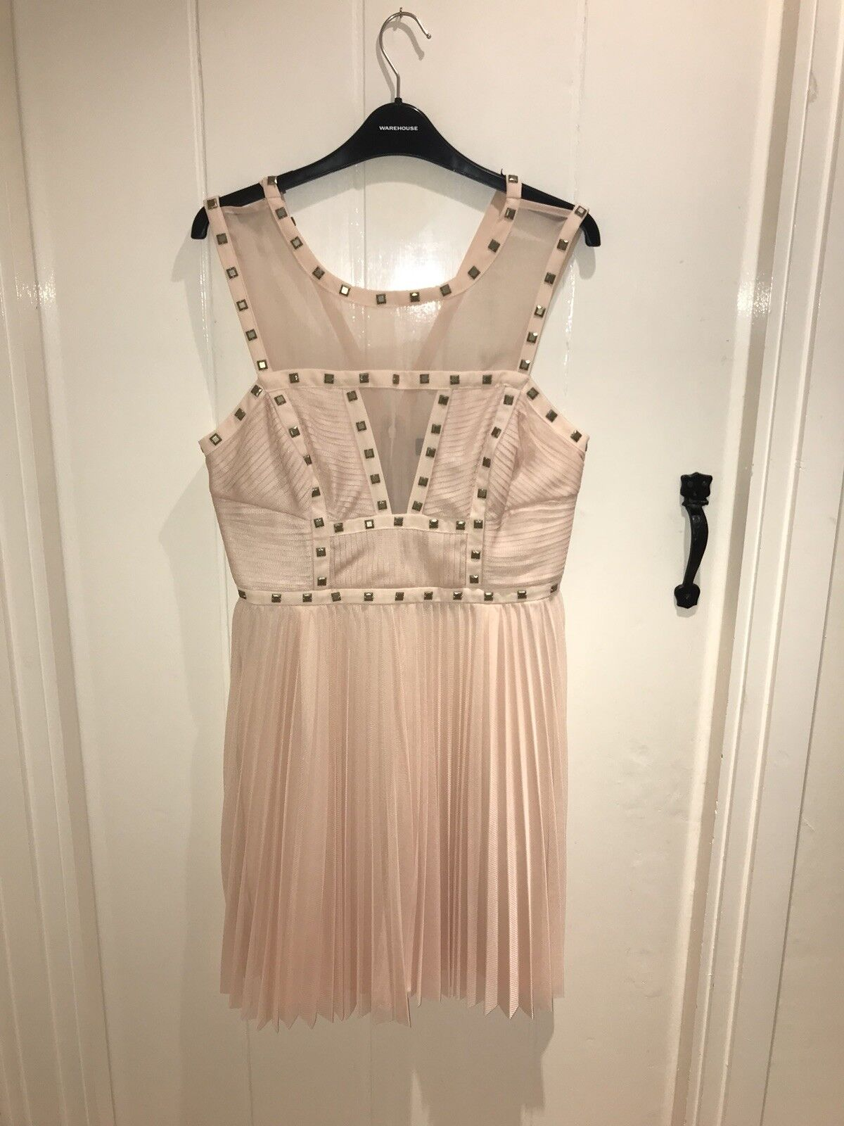 NEW Warehouse Dress Pink Nude Studded Pleated hand embellished Spotlight Size 14