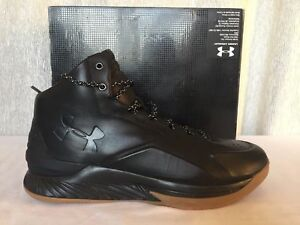 f4c271b65eda Under Armour UA Curry 1 Lux Mid Leather Black Gum Bottom 1296616-001 ...