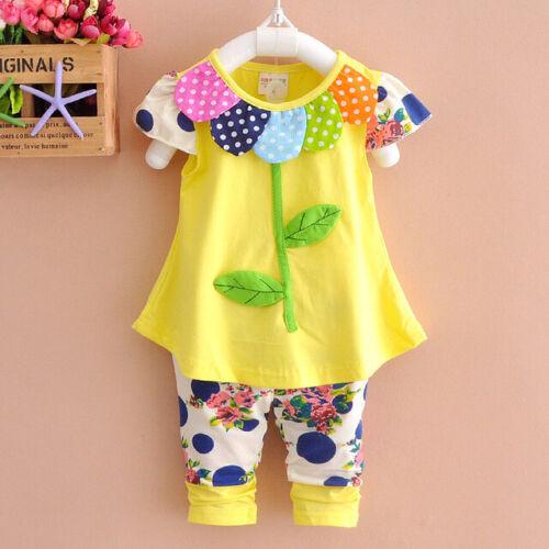 2pcs baby kids girls clothes summer cotton outfits top+short pants Sunflower