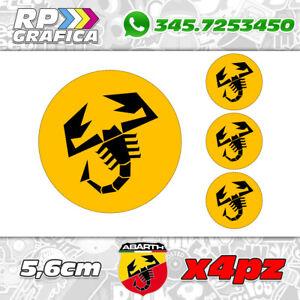 KIT-4-ADESIVI-ABARTH-COPRI-MOZZO-sticker-FIAT-500-595-695-yellow-amp-black