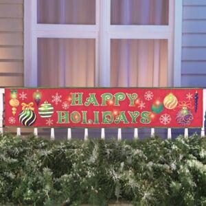 Groß LED Beleuchtet 'Happy Holidays' Weihnachten Ornament Veranda Zaun Banner