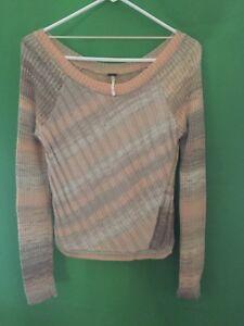 8344-FREE-PEOPLE-sz-medium-M-pullover-orange-gray-sweater-wool-blend