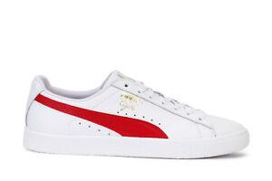 Puma Men s Sneakers Clyde Core L Foil White Barbados Cherry Gold ... 939e2be5e