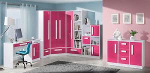 Details zu Jugendzimmer Komplett Kinderzimmer Schreibtisch Schrank weiß /  Hochglanz 20830